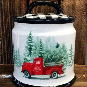 Farmhouse truck Christmas cookie jar